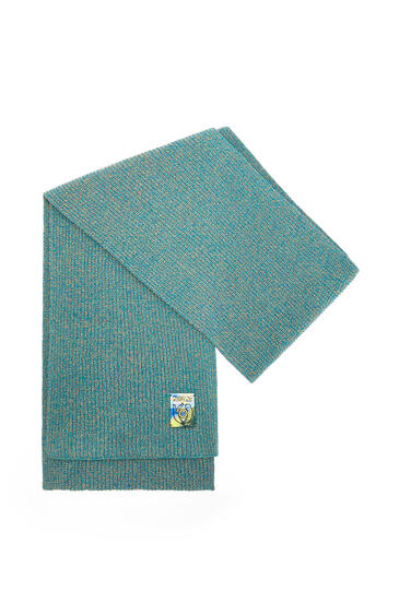 LOEWE Melange Knit Scarf In Cotton Emerald Green pdp_rd