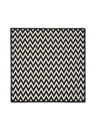 LOEWE 140X140 Scarf Herringbone 白色/黑色 front