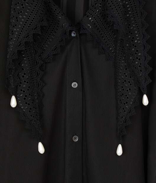LOEWE Lace Petal Blouse Pearls Black front