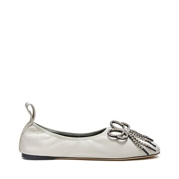 LOEWE Strassed Bow Ballerina Soft White front