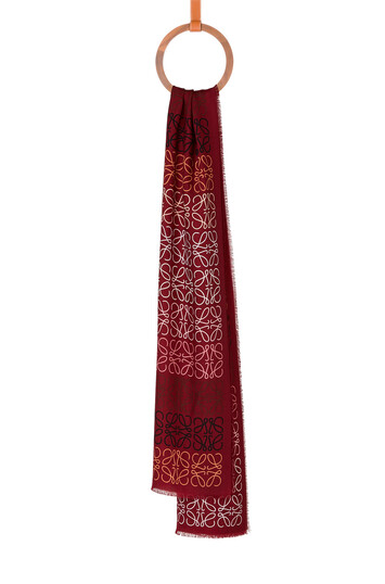 LOEWE 45X200 Scarf Anagram In Lines Dark Red front