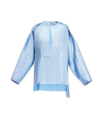 LOEWE Asymmetric Satin Blouse Azul Claro front