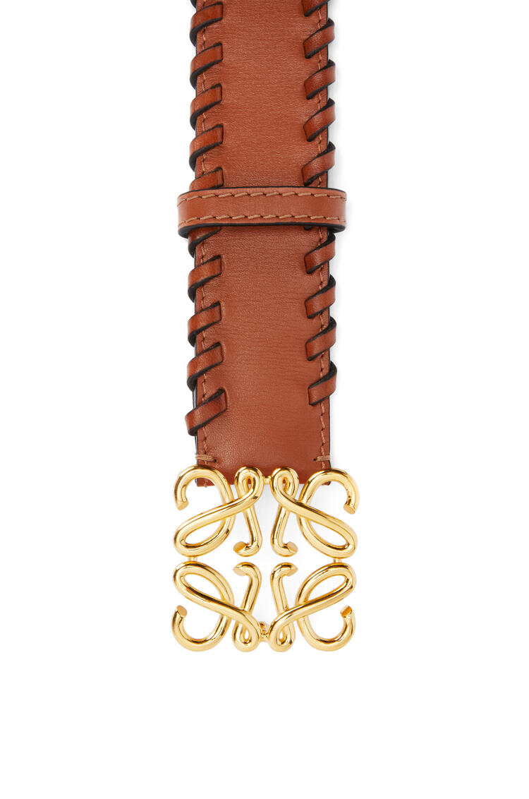 LOEWE Braided Anagram belt in calfskin Tan/Gold pdp_rd