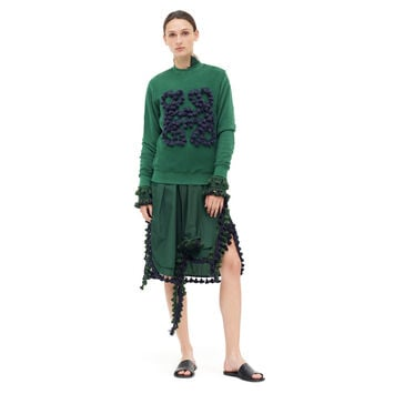 LOEWE Anagram Sweatshirt Pompons Dark Green front