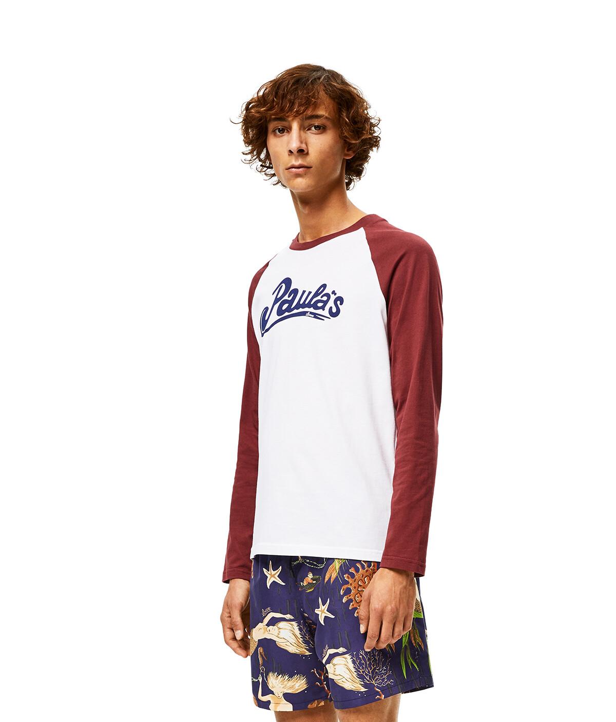LOEWE Camiseta Tipo Béisbol De Algodón Blanco/Marron front