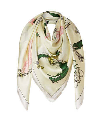 LOEWE 140X140 Scarf Alphabet Light Yellow front