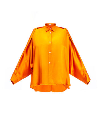 LOEWE Crinkle Satin Blouse Orange front