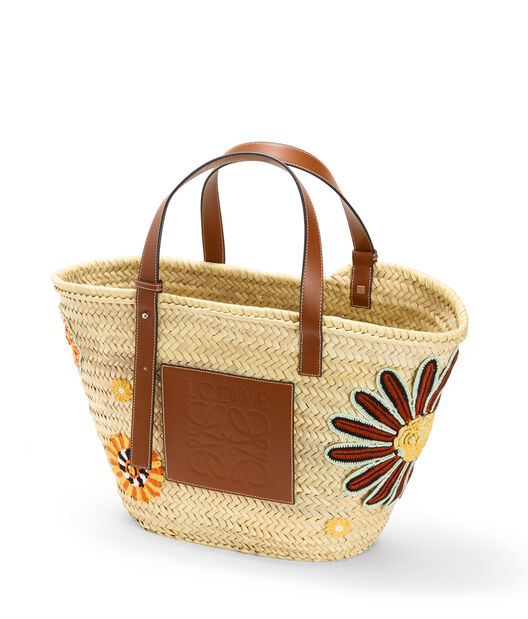 LOEWE Basket Flowers Large Bag Natural/Tan front