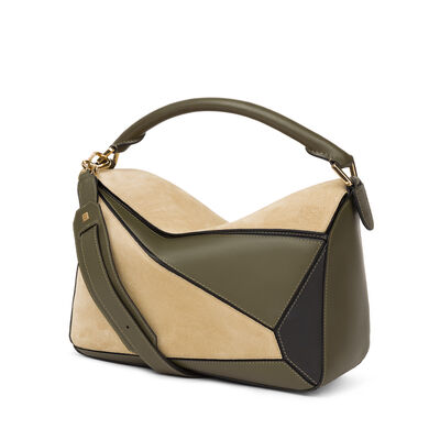 LOEWE パズル バッグ Gold/Military Green/Black front