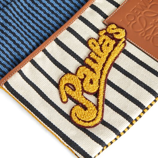 LOEWE Paula's Small Drawstring Pouch Stripes Multicolor/Tan front