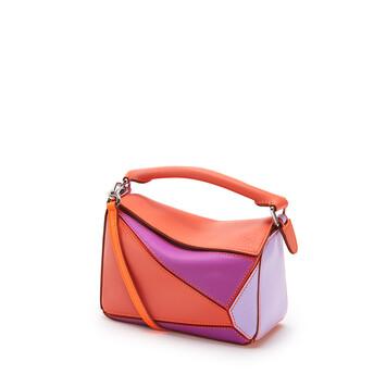 LOEWE Mini Puzzle Bag In Classic Calfskin Grapefruit/Mauve front