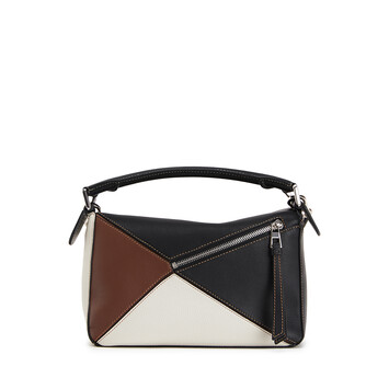 LOEWE Puzzle Small Bag Black/Brunette front