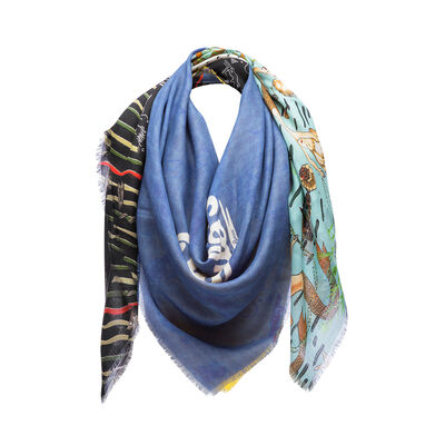 LOEWE 140X140 Scarf Paula Patchwork Blue/Yellow front