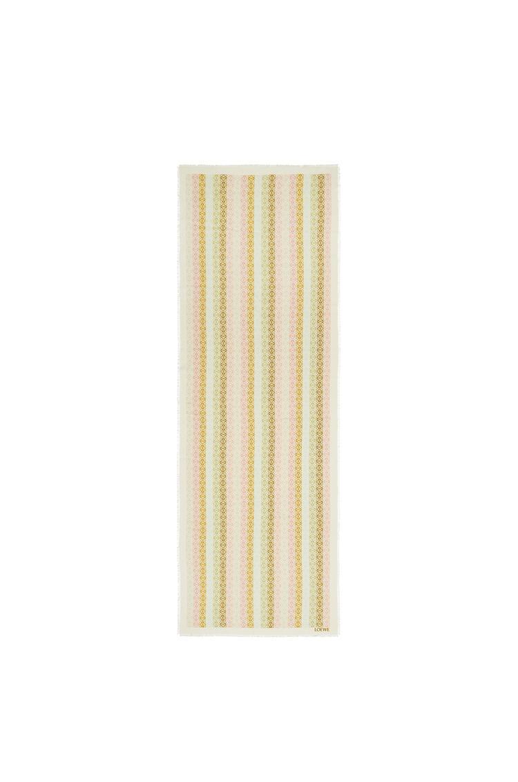LOEWE Pañuelo Anagrama de 70 x 200 cm en lana y cashmere Blanco/Rosa pdp_rd