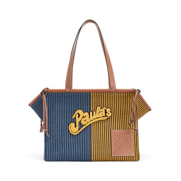 LOEWE Paula's Cushion Tote Stripes Blue/Yellow front