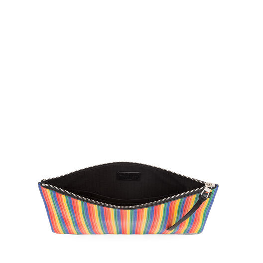LOEWE Medium Rainbow Flat Pouch Multicolor/Black all