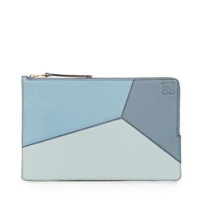 LOEWE パズル フラット ポーチ aqua/light blue/stone blue front