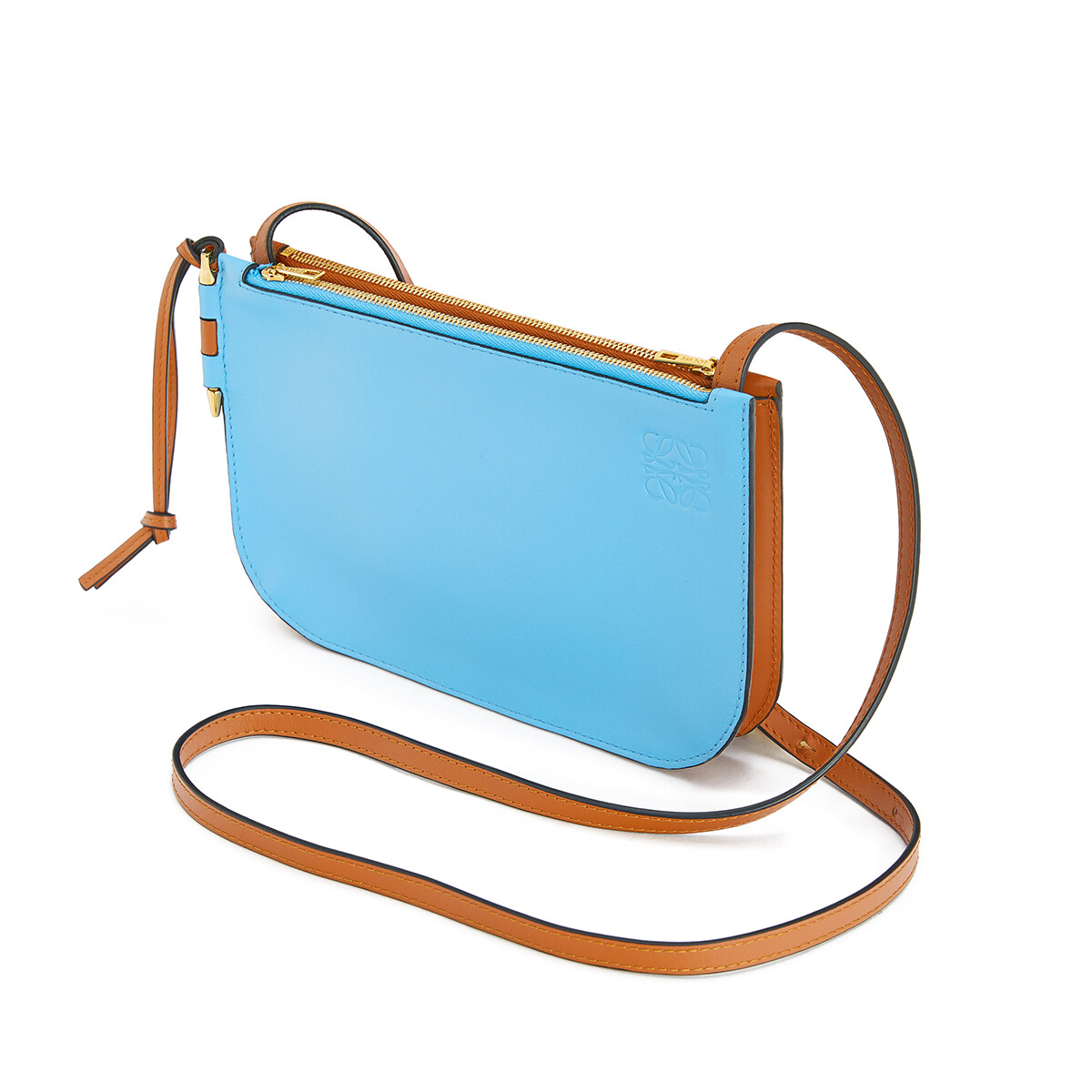 LOEWE Gate Double Zip Pouch Tan/Sky Blue front