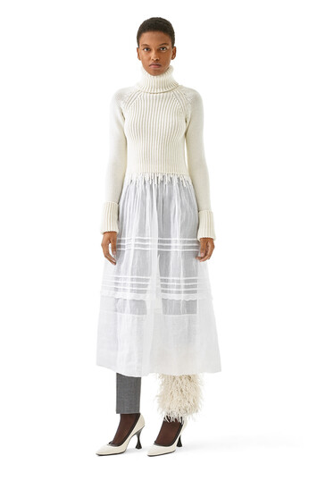 LOEWE Rib Knit & Organdy Dress White front