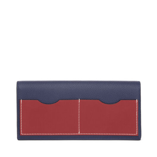 LOEWE Billetero Largo Horizontal Azul Marino/Rojo Teja all