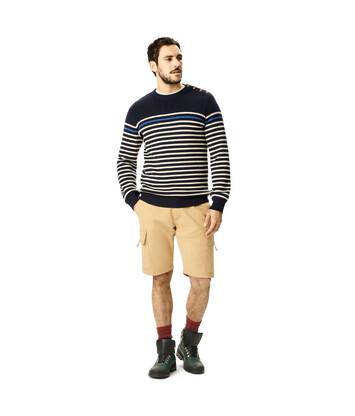 LOEWE Eln Stripe Button Sweater Navy/White front