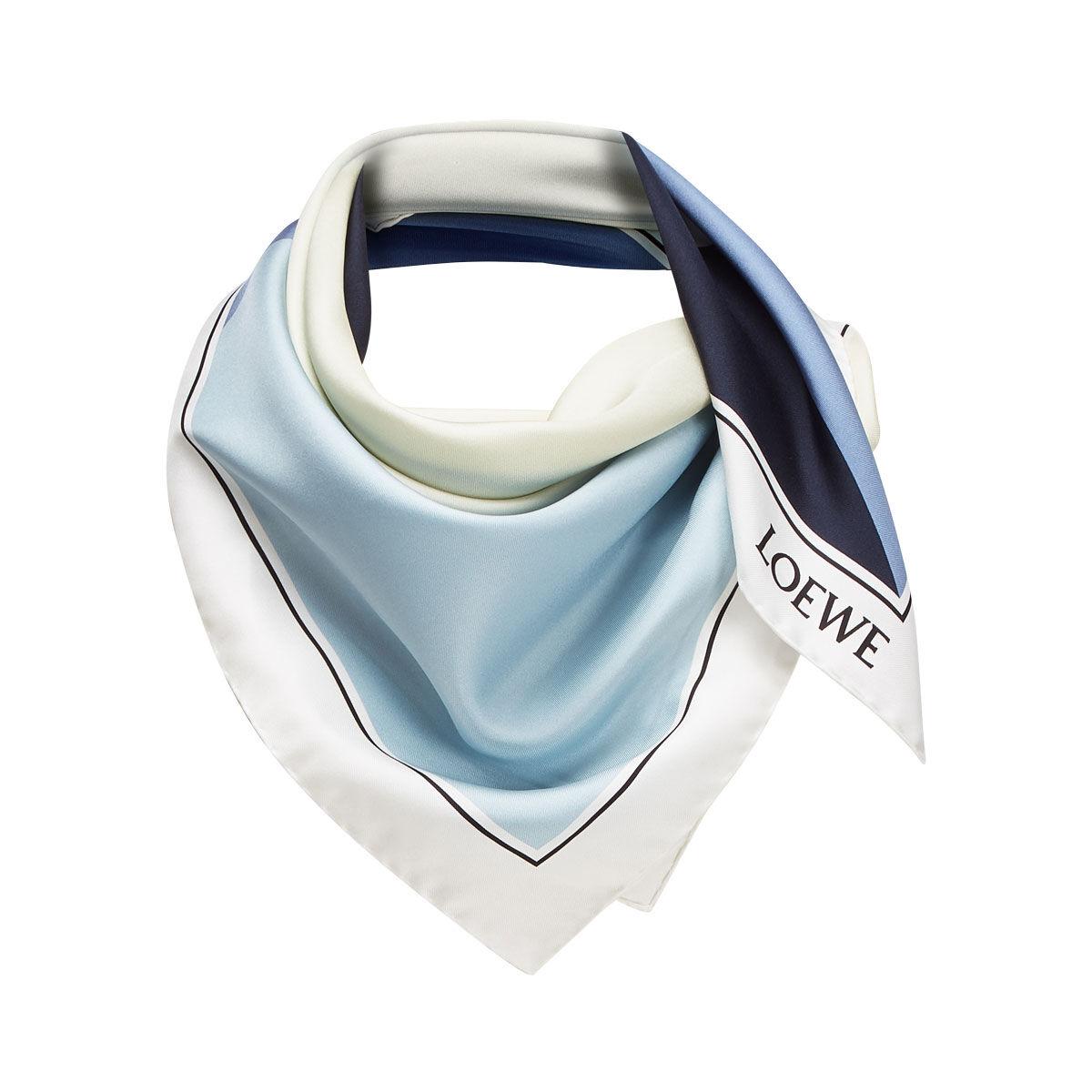 LOEWE 90X90 スカーフパズル ブルー all