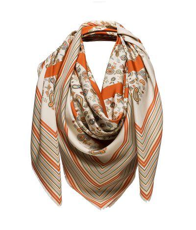 LOEWE 140X140 Scarf Paisley Anagram Beige/Orange front