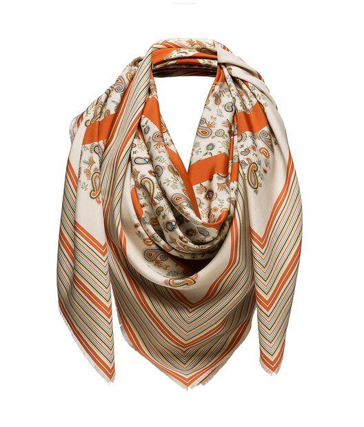LOEWE 140X140 Scarf Paisley Anagram Beige/Naranja all
