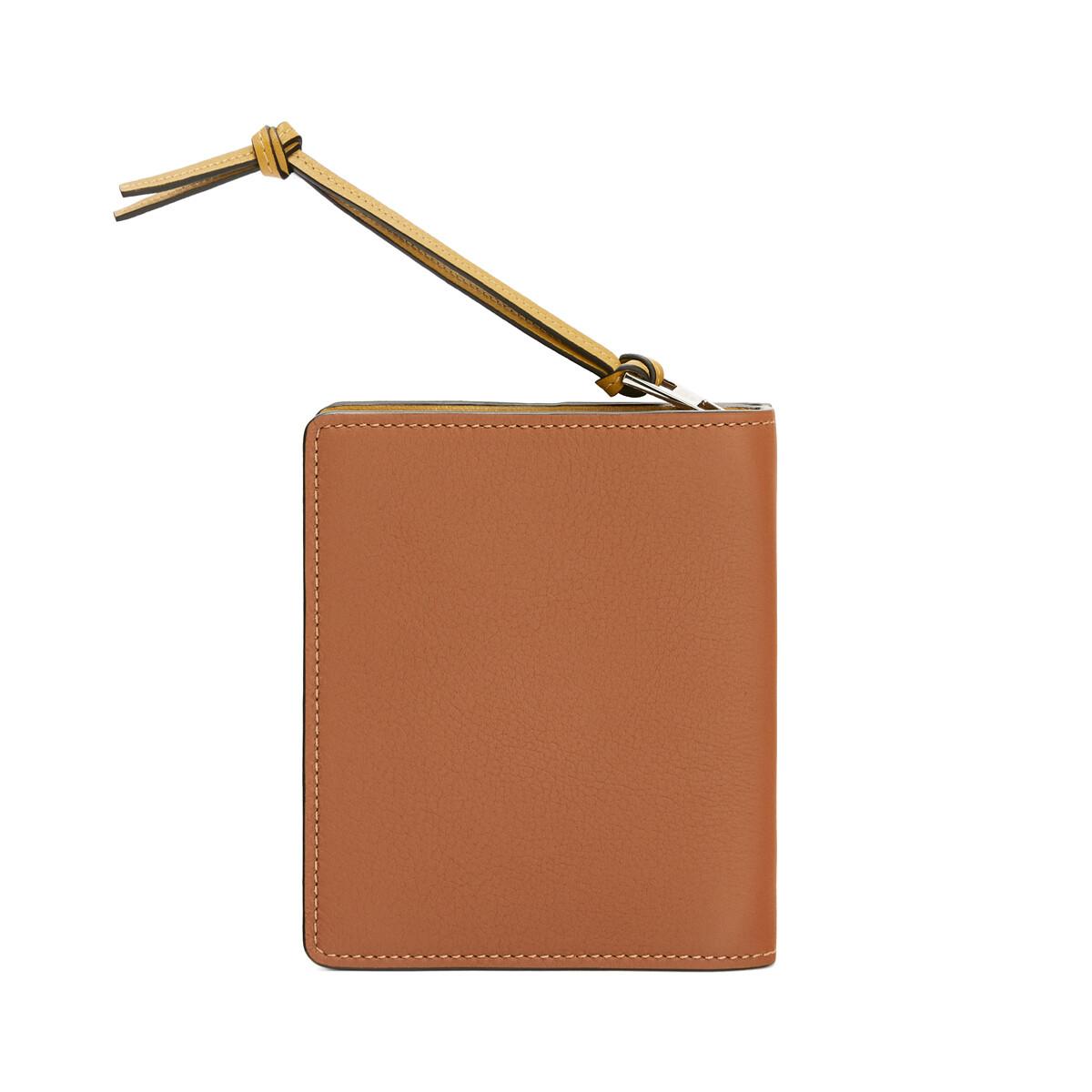 LOEWE Brand Compact Zip Wallet Tan/Ochre front