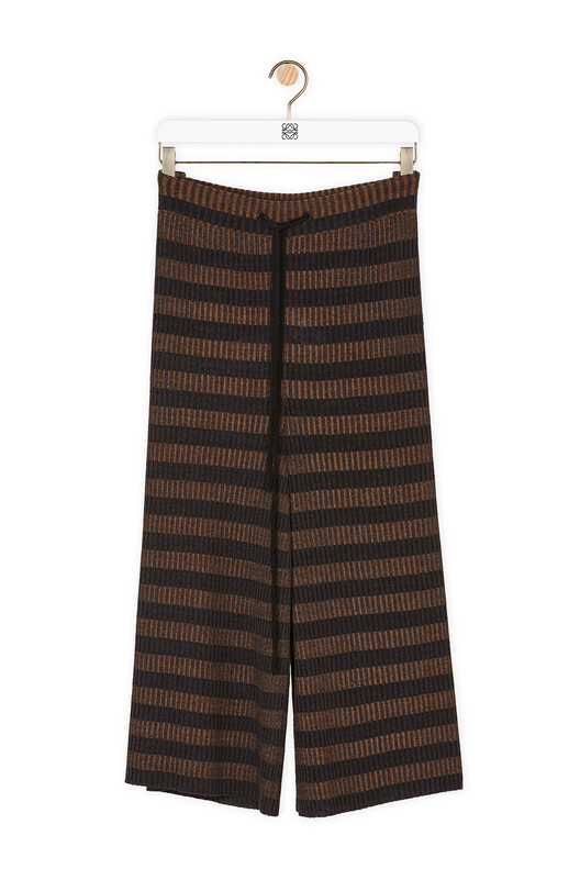 LOEWE Stripe Rib Knit Shorts Brown/Black front