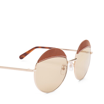 LOEWE Gafas Redondas Pespunte Marron/Marron Claro front