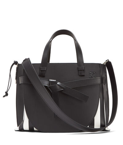 LOEWE Gate Top Handle Grid Bag Black/White front