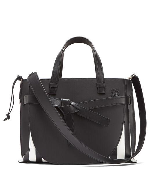 LOEWE Gate Top Handle Grid Bag 黑色/白色 front
