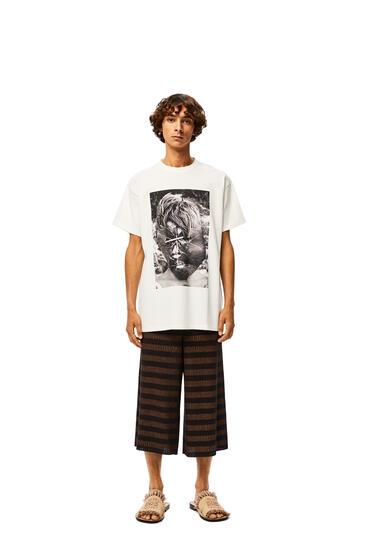 LOEWE Shorts acanalado en lino a rayas Marron/Negro pdp_rd