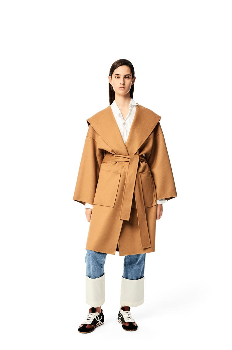 LOEWE Hooded coat in wool and cashemere Camel pdp_rd