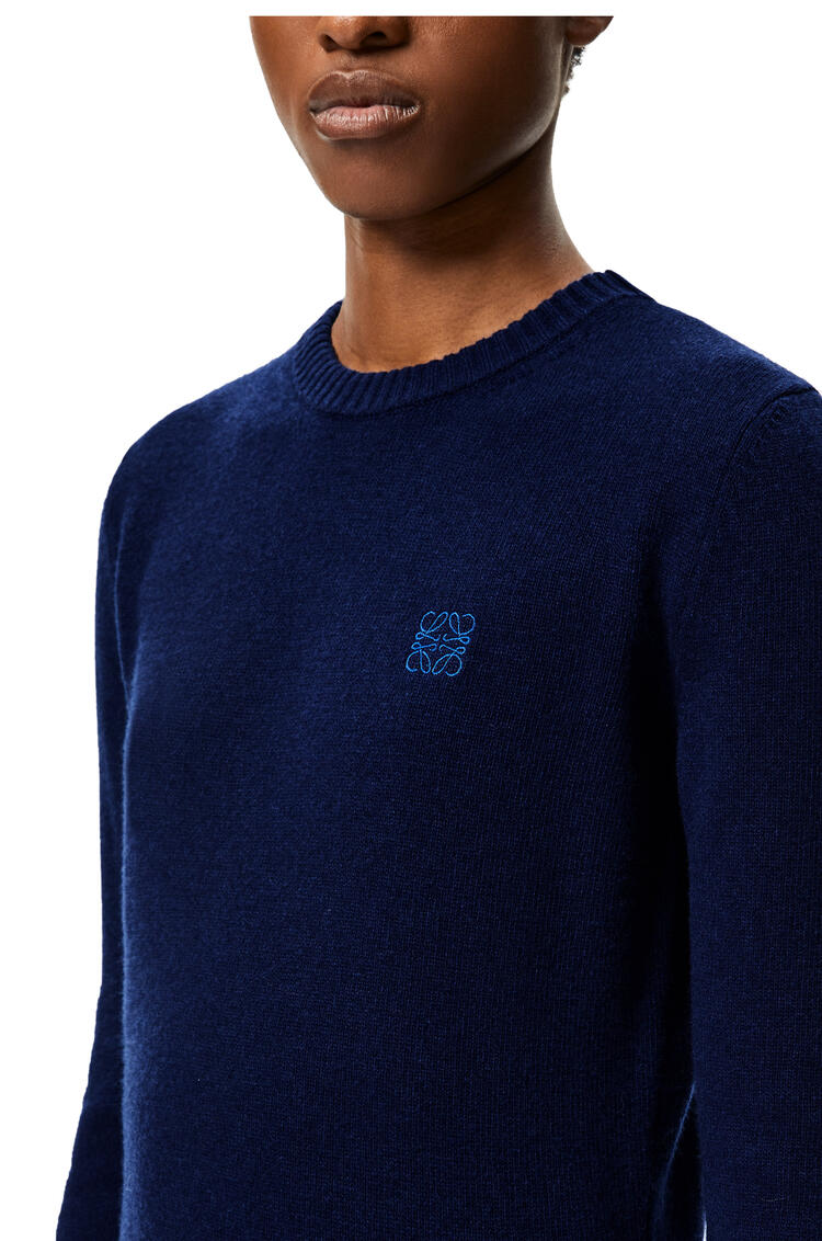 LOEWE Anagram embroidered cropped sweater in wool Navy Blue pdp_rd