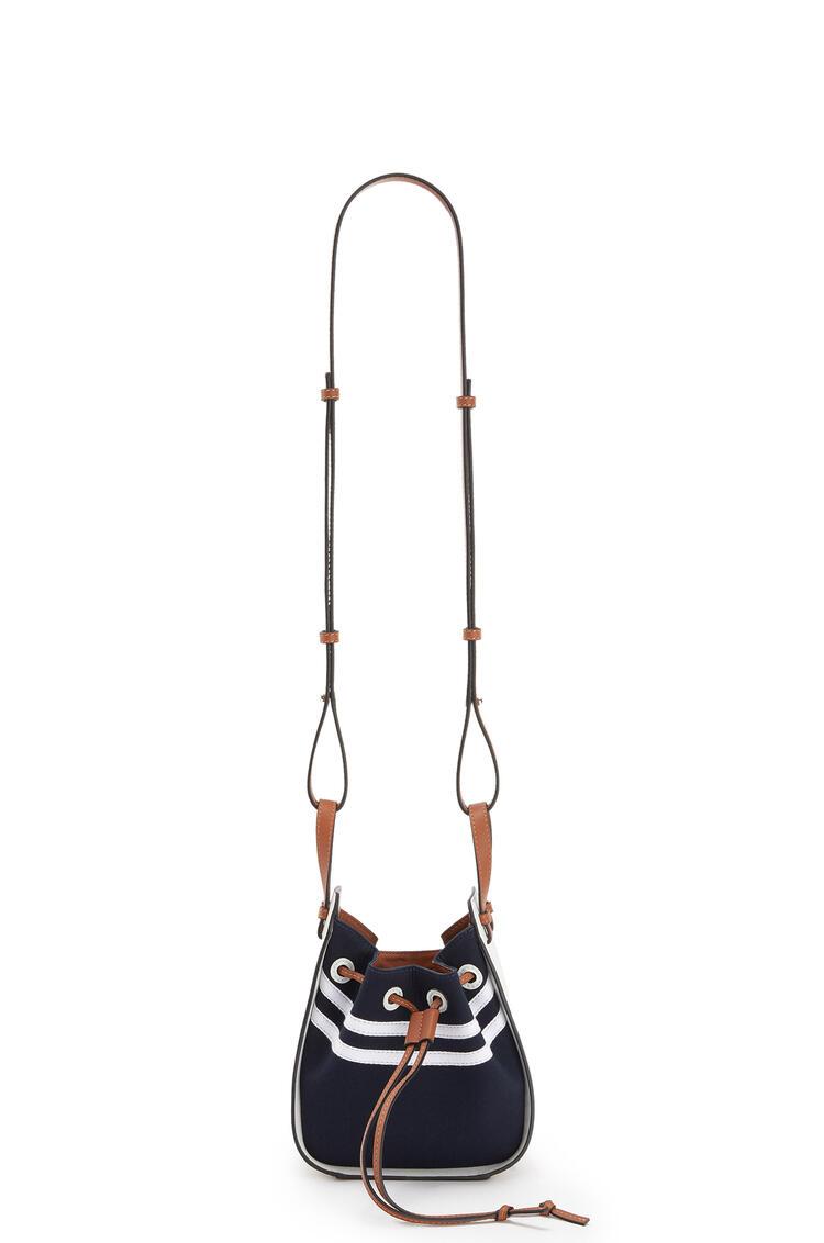 LOEWE Mini Hammock Drawstring bag in calfskin and canvas Deep Blue/Soft White pdp_rd