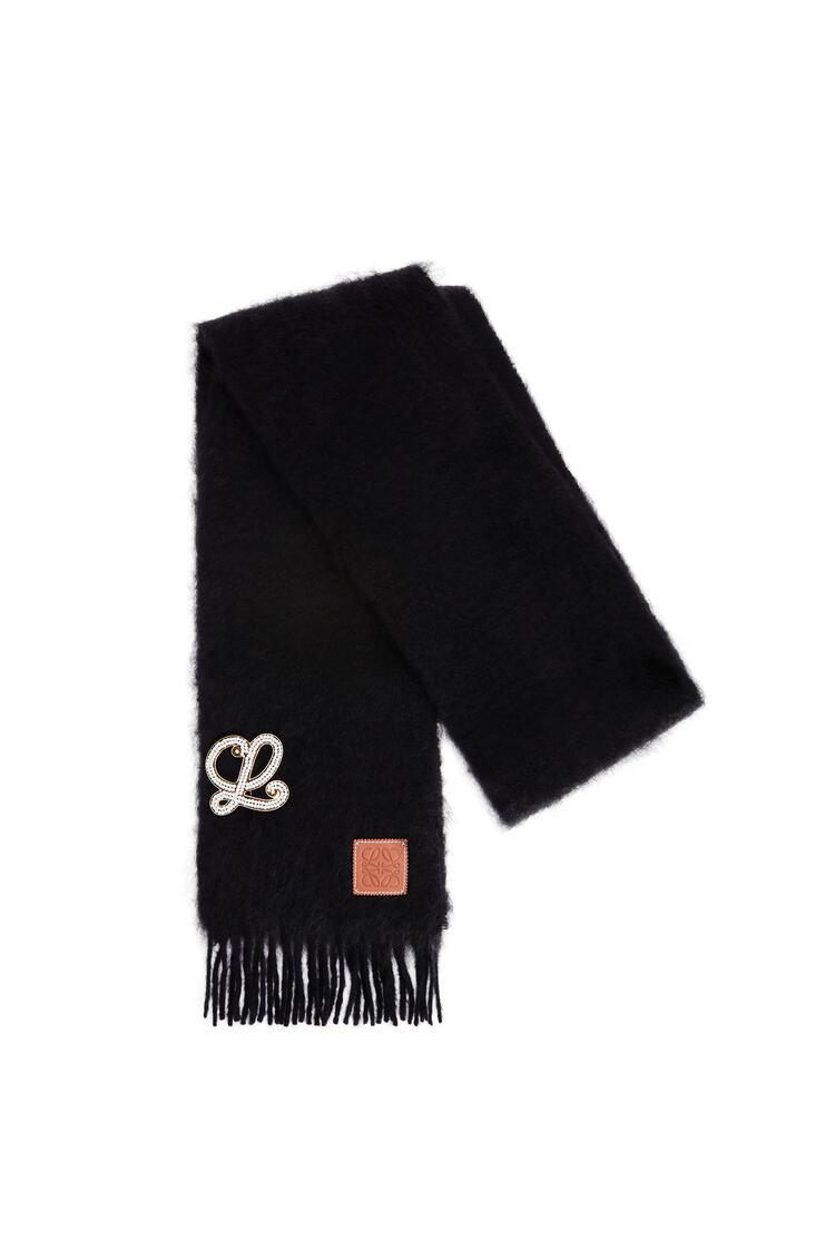 LOEWE Brooch scarf in mohair and wool Black pdp_rd