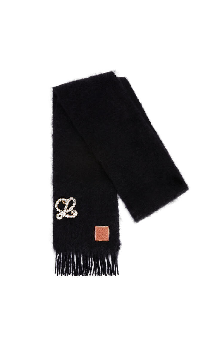 LOEWE Bufanda en mohair y lana con broche Negro pdp_rd