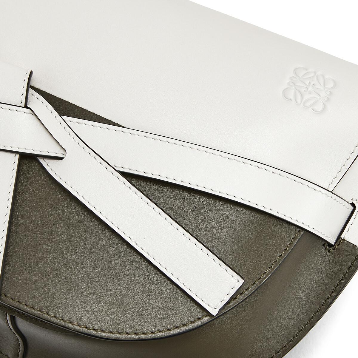 LOEWE Gate Colour Block Small Bag Soft White/Khaki Green front