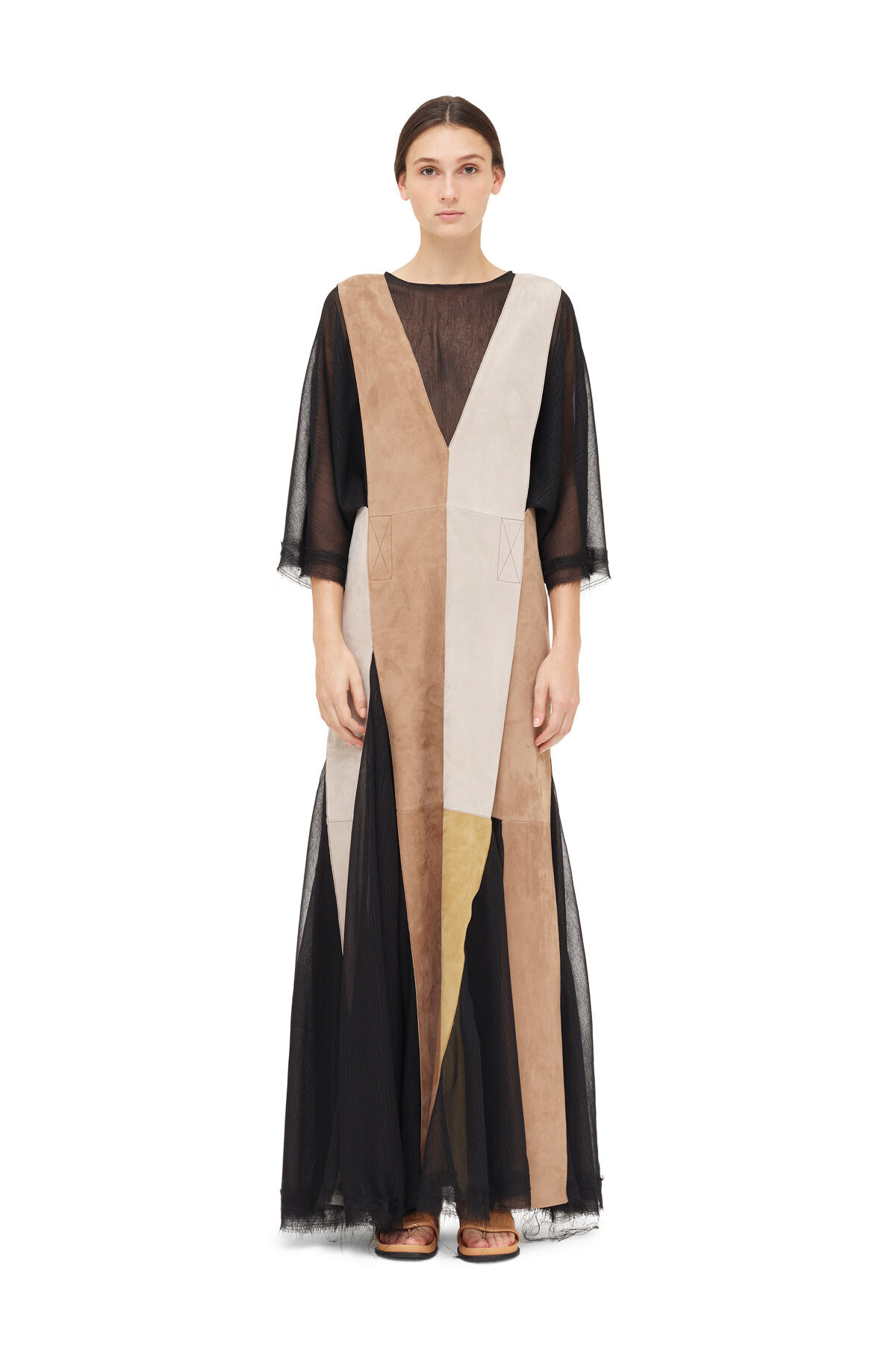 LOEWE Patchwork Dress Nuez Moscada/Oro front
