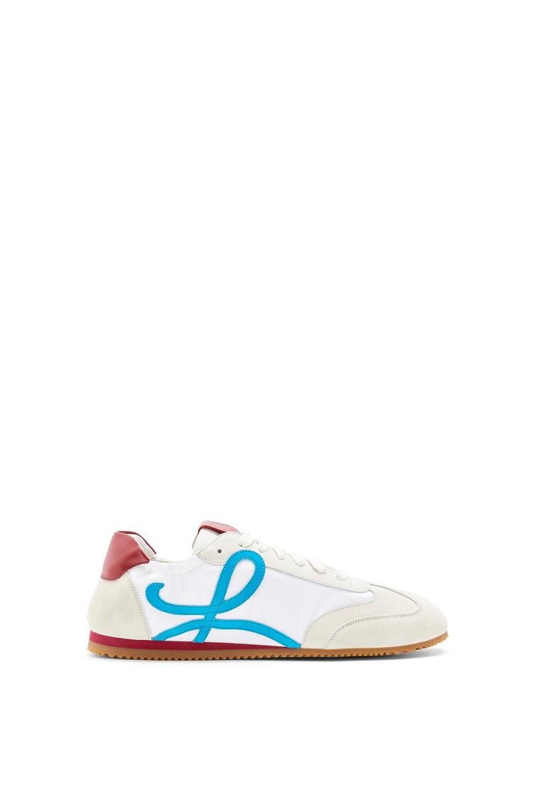 LOEWE Zapatilla Ballet runner en nailon y piel de ternera Blanco Suave/Azul Laguna/Rojo pdp_rd