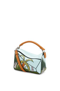 LOEWE Small Easter Island Puzzle bag in classic calfskin Mint/Multicolor pdp_rd
