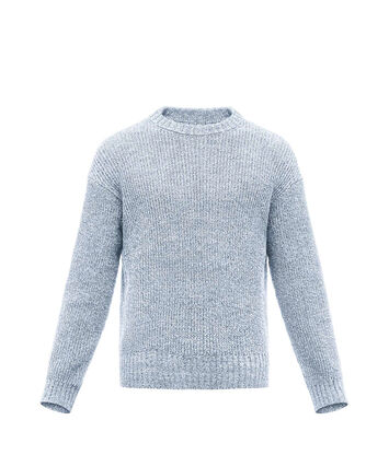 LOEWE Crewneck Sweater Melange Light Blue front