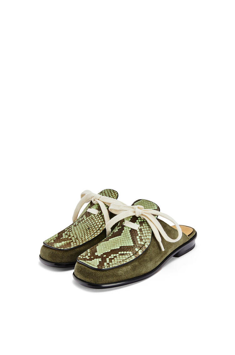 LOEWE Lace up mule in python and calfskin Khaki Green/Neon Green pdp_rd