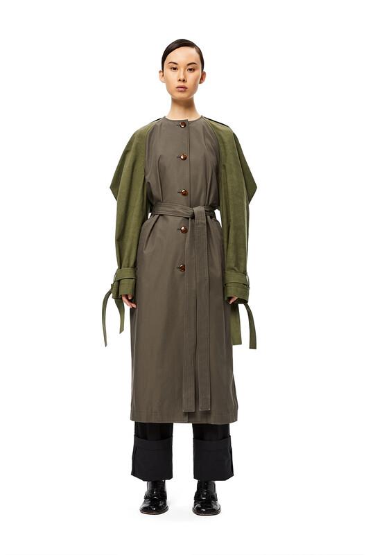 LOEWE Raglan Sleeve Coat Verde Kaki/Verde Kaki Oscuro front