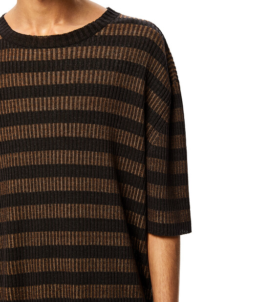 LOEWE Stripe Rib Long T-Shirt Brown/Black front
