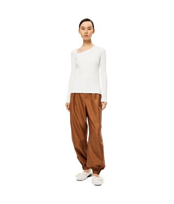 LOEWE Ribbed Asym Collar Sweater Blanco front