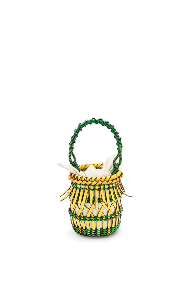 LOEWE Small Fringes Bucket bag in calfskin Yellow/Green pdp_rd