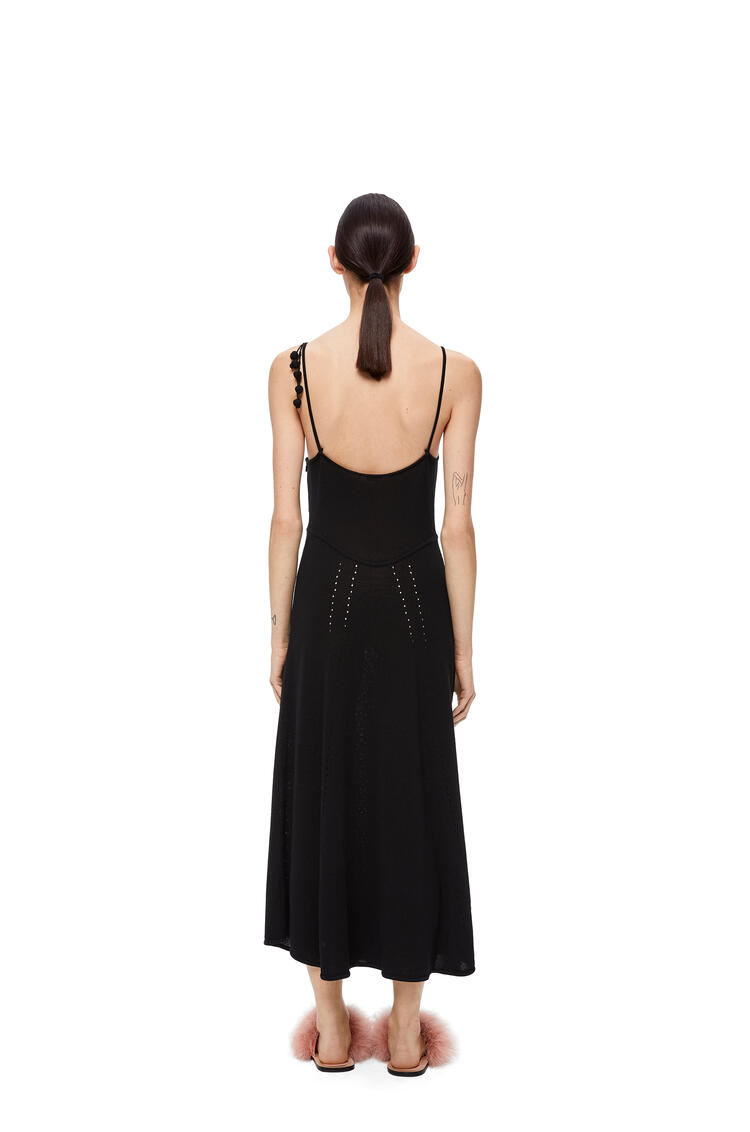 LOEWE Embroidered knit dress in cotton Black pdp_rd